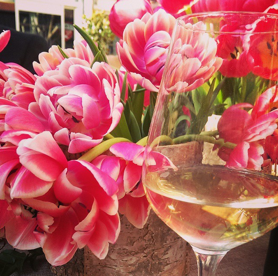 flowers and wine